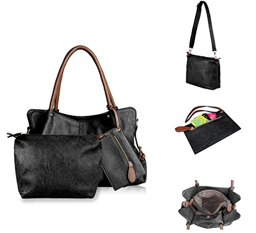 AB Shoulder Matching Pieces Handbag 3 Earth 3 Pieces Black Hobo Satchel Leather Purses PU Bag Totes Combo Wallet HHrqvOw