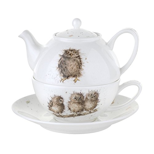 - Wrendale by Royal Worcester Tea for One with Saucer Owls, Set of 1