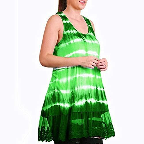 (Tantisy ♣↭♣ Women's Plus Size Tie-dye Print Vest Sleeveless Lace Hem Flowy Ladies Tank Tops Multicolor Multi-Code Green)