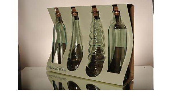 100% reciclado botellas de vidrio con tapón de corcho 300 ml - 4 estilos: Amazon.es: Hogar