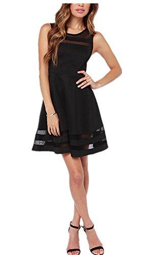 Tengfu Women's Sweet Elegent Sleeveless Sheer Mesh Slim Flare Party Dress Black