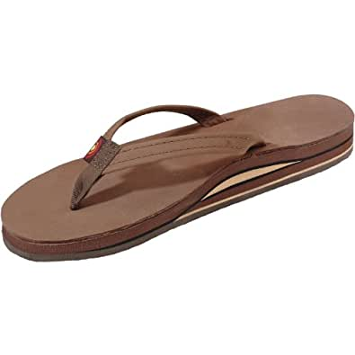 Rainbow Sandals Women's Premier Leather Double Stack Narrow Strap Dark Brown Size Small (5.5-6.5)