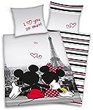 Herding 4478009027 Parure de Lit pour Enfants avec Imprimé Disney's Mickey & Minnie à Paris en Coton Multicolore 140 x 200 cm