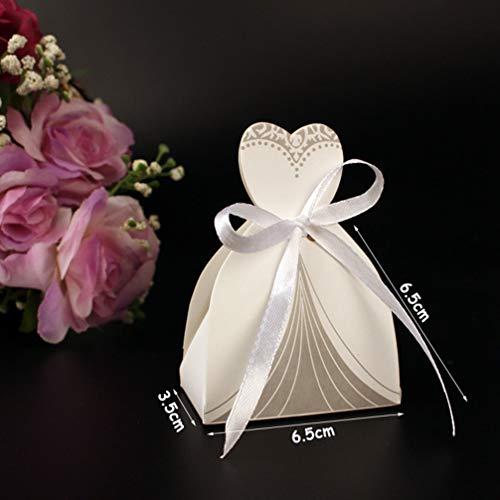 (MEIZOKEN 10Pcs/Set Wedding Gifts Case Bride Groom Tuxedo Dress Gown Ribbon Wedding Favor Candy Box Bag Wedding Party Decor)