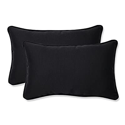 Pillow Perfect Outdoor Fresco Corded Rectangular Throw Pillow, Black, Set of 2 - Includes two (2) outdoor pillows, resists weather and fading in sunlight; Suitable for indoor and outdoor use Plush Fill - 100-percent polyester fiber filling Edges of outdoor pillows are trimmed with matching fabric and cord to sit perfectly on your outdoor patio furniture - patio, outdoor-throw-pillows, outdoor-decor - 412A6ZYFakL. SS400  -