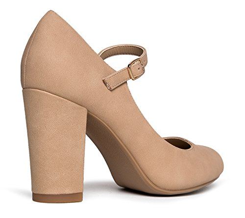 Jane Chunky Natural Pumps Comfortable Block Skippy Cute J Mary Round Toe Heels Nbpu Adams q7xgtw8