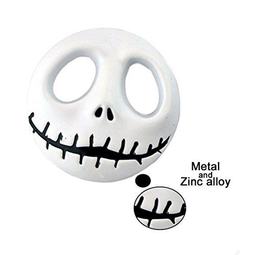 General White Metal Skull Head Halloween Decoration Car Badge Emblem ()