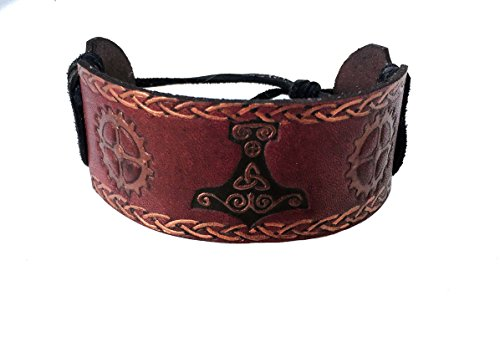 [Steampunk Viking Personalized Leather Bracelet Cuff for Men] (Wild Flower Child Hippie Costume)