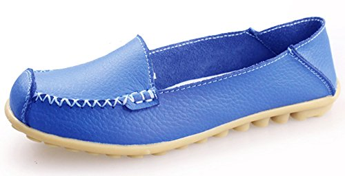 Summerwhisper Donna Casual Tondo Cap Toe Slip On Driving Barca Scarpe Anti Skid Mocassini In Pelle Larga Larghezza Blu
