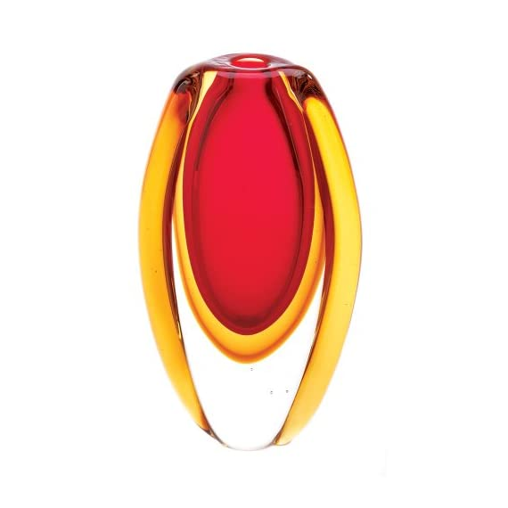 Gifts & Decor Sunfire Decorative Glass Vase Centerpiece - Stunning glass vase with an abstract pattern Bright and vibrant red and gold colors Fabulous decorative accent for any home - vases, kitchen-dining-room-decor, kitchen-dining-room - 412A7KNnLvL. SS570  -