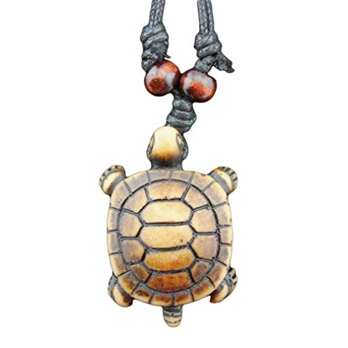 Dolland Cute Turtle Pendants Necklace Adjustable Cord Necklace Carved Handmade Rope Chain Jewelry,Brown (Ordinary Turtle Shell Mouth Biting - Bone Necklace Shell