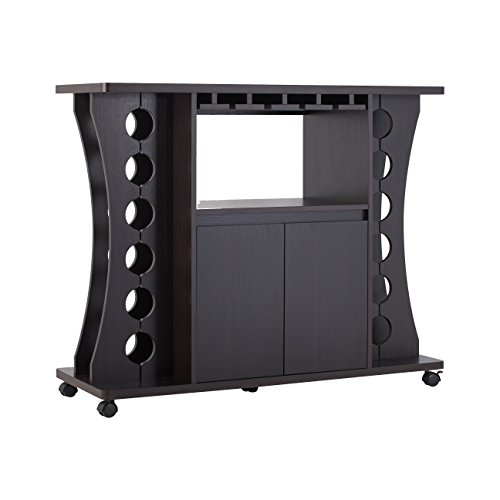 Cheap ioHOMES Henley Freestanding Bar Table with Wine Rack, Espresso