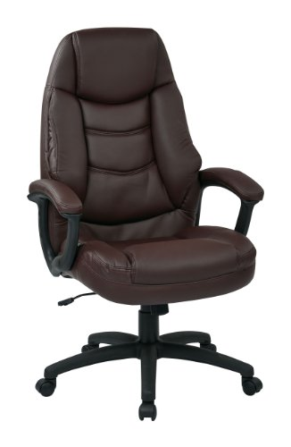 Office Star Oversized Executive Faux Leather Chair with P...