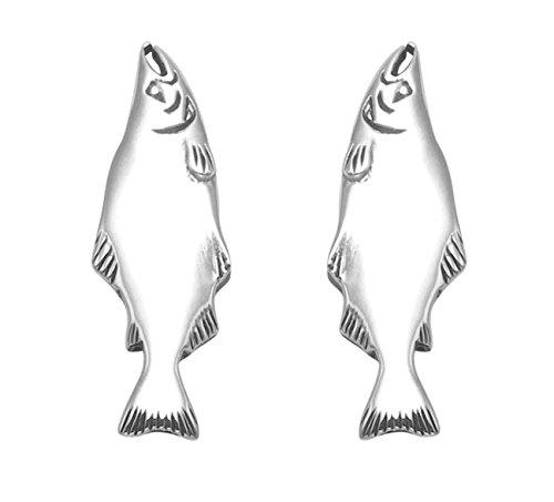 Sterling Silver Salmon Stud Earrings