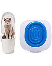 Cat Toilet Training Kit Kitten Pet Toilet Training System Cat Litter Tray Mat Kitty Urinal Seat Toilet Trainer Blue Convenient Groove Design Safe Non-Toxic
