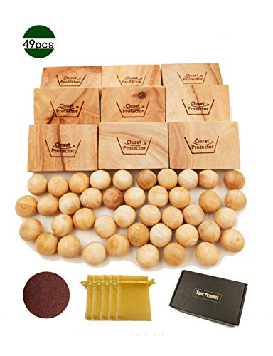 L.M.&L.W. Cedar Blocks Lavender Sachets Cedar Balls Aromatic Alternative Perfect Clothes Closet Drawer Liners Deodorant Home Essential Supplies 49 Packs/Set - Lavender Cedar Blocks