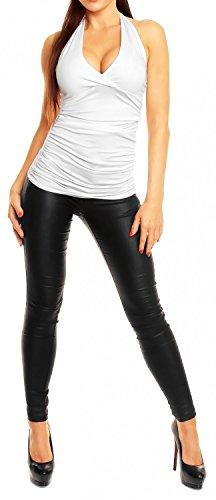 Empire Con Allacciato Glamour shirt Schiena 167 Al Scoperta Collo Bianco T Donna Top YdqUSq