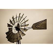 Windmill Fine Art Print - Sepia Toned Photograph of Windmill Head Farm Decor Country Wall Art 5x7 to 30x45