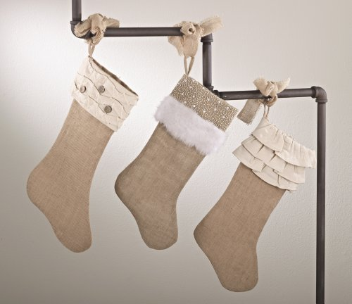 fenncostyles.com Holiday Décor Jute Design Natural Christmas Stocking, One Piece (Ruffles and Wood Buttons) by fenncostyles.com (Image #1)