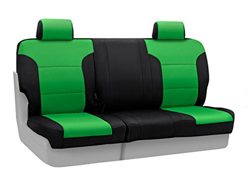 Coverking Custom Fit Rear 60/40 Bench Seat Cover for Select Jeep Wrangler Models - Neoprene (Synergy Green with Black Sides)