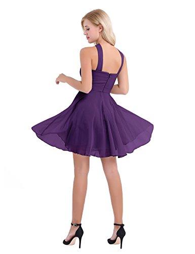 iiniim Cross Straps Dress Prom Party Criss Gown Short Bridesmaid Chiffon Purple Womens Evening OaOqBf