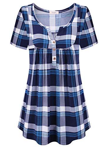 (Ca Kra Tunics for Women, Short Sleeve Tunic Tops Henley Shirts for Leggings)