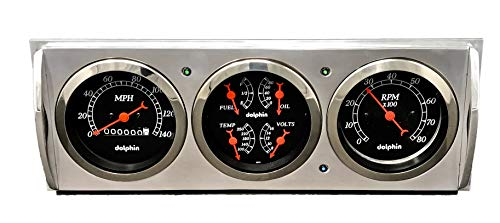 Dolphin Gauges 1941 1942 1943 1944 1945 1946 Chevy Truck 3 Gauge Quad Style Mechanical Dash Panel Insert Black
