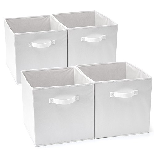 EZOWare Set of 4 Foldable Fabric Basket Bin, Collapsible Storage Cube for Nursery Home and Office - White (13 x 15 x 13 inches)