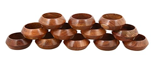 Shalinindia  Handmade Wood Napkin Ring Set (Artisan Crafted in India), Set of 12