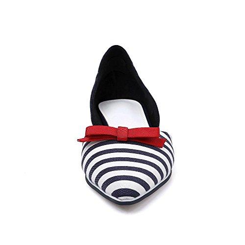 Amoonyfashion Womens Pull On Bout Pointu Fermé Pas Talon Mélange Matériaux Stripe Pumps Chaussures Bleu