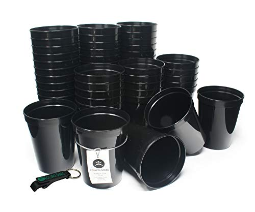 Rolling Sands 16oz Reusable Plastic Stadium Cups Black (50 Pack, Made in USA, BPA-Free) Dishwasher Safe Plastic Tumblers and Bottle Opener]()