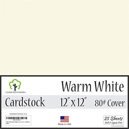Warm White Cardstock - 12 x 12 inch - 80Lb Cover - 25 Sheets ()