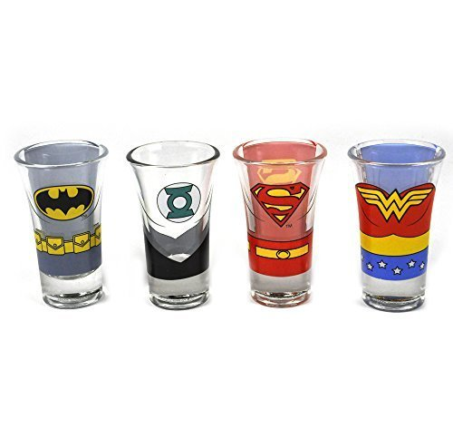 Half Moon Bay Justice League Of America Characters Set Of 4 Shot Glasses