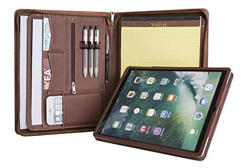 Professional Portfolio with Tablet Holder, Full-Grain Cow Leather Padfolio Case Zippered Business Organizer Interview Meeting Document Holder, with Letter Size Notepad Holder