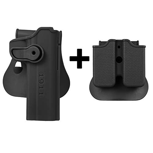 KRYDEX Colt 1911 M1911 Retention Paddle Holster and Double Magazine Pouch Combo Polymer for Colt 1911 M1911 Right Hand