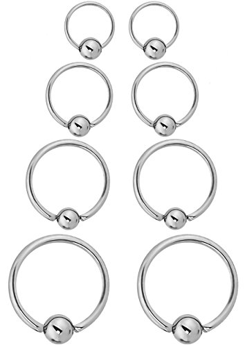 Forbidden Body Jewelry 8-Pack of Every-Day Piercing Rings: 16g 6/8/10/12mm Surgical Steel Captive Bead Hoop Rings - Jewelry 16g Body Earrings