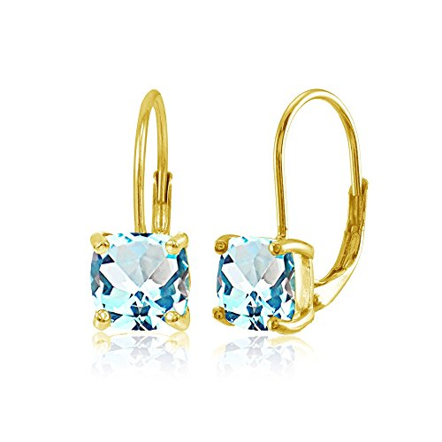 (Yellow Gold Flashed Sterling Silver Blue Topaz 7x7mm Cushion-Cut Leverback)