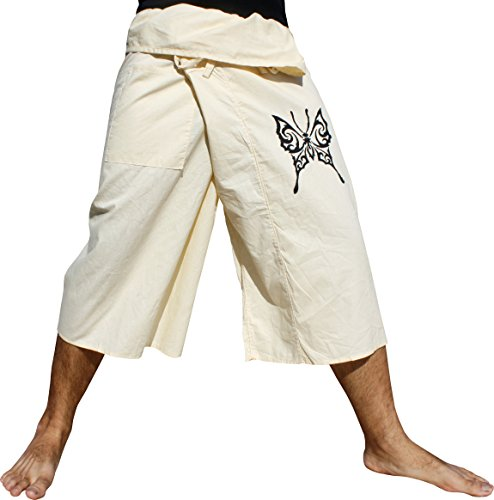 Raan Pah Muang RaanPahMuang Thin Cotton 3/4 Capri Leg Butterfly Print Fisherman Pants Summer, X-Large, Cream