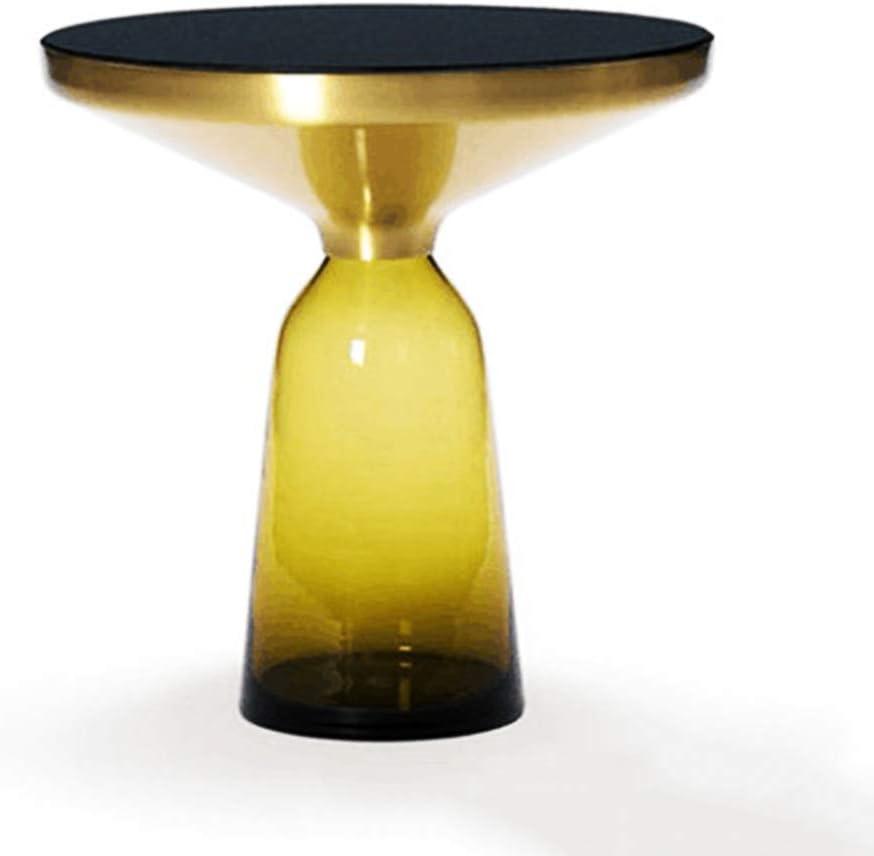 Fabrieksprijs ZRRtables glazen tafel salontafel modern salontafel ronde bijzettafel mini salontafel met messing metalen frame voor thuis, woonkamer, eetkamer, 50 x 38 cm/20 x 15 (L x H) C b6sJqtC
