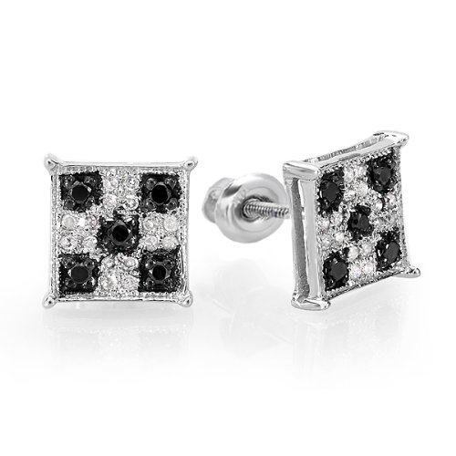 0.25 Carat (ctw) Sterling Silver Black & White Round Cut Diamond Square Shaped Micro Pave Stud Earrings 1/4 (0.25 Ct Diamond Square)