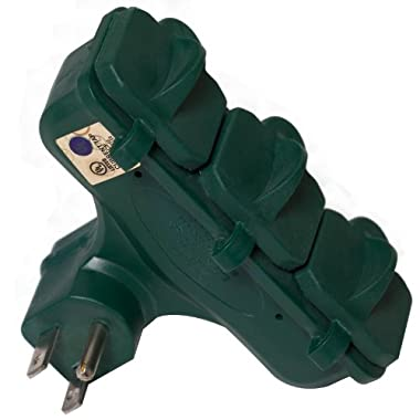 Master Electrician KAB-3FLU  3 Outlet  Heavy Duty Grounded Outdoor Adaptor, Green
