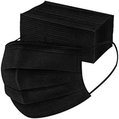 Disposable 3ply Face Mask Elastic Earloop Mouth Face Cover Masks,Anti-spittle,Protective Dust(Black,50pcs)