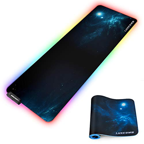 LED RGB Gaming Mouse Pad - 10 Light Modes Extended Computer Keyboard Mat with Durable Stitched Edges and Non-Slip Rubber Base, High-Performance Large Mouse Pad Optimized for Gamer 31.5X11.8X0.15Inch