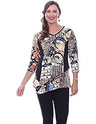 Parsley & Sage Bethany Asymmetric 3/4 Sleeve V-Neck Fancy Tunic Abstract Pattern