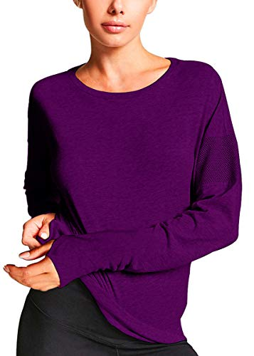 Fihapyli Women's Basic Solid Color Tee Breathable Soft Long Sleeve Cotton T-Shirt Workout Blouse Tees Juniors Casual Tops Workout Shirts for Women Loose Fit Womens Tank Tops Workout Darkpurple, XL