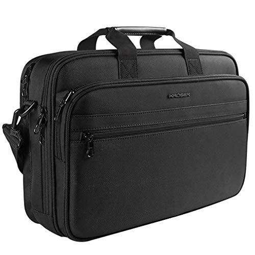 "KROSER 17"" Laptop Bag Laptop Briefcase Fits Up to 16 Inch Laptop Water-Repellent Light Weight Shoulder Bag Laptop Messenger Bag Computer Bag for Travel/Business/School/Men/Women-Black"