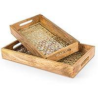 Lone Elm Studios 94320 S/2 Golden Mosaic Wood Trays Christmas, 16InL x 10InW x 2InH, Multicolor