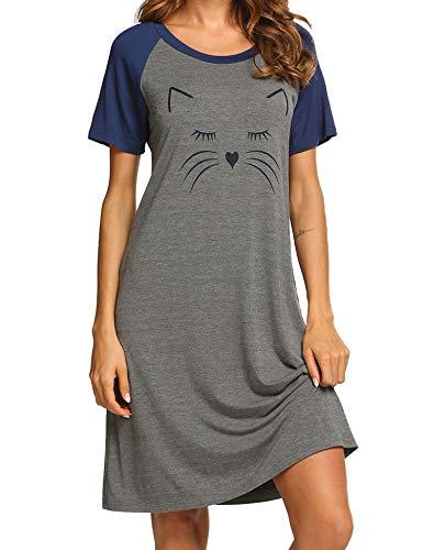 (Ekouaer Nightshirts Sleepwear Scoop Neck Sleep Tee Shirts Short Sleeve Nightshirt for Women Blue S)
