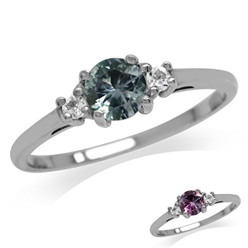 Petite Simulated Color Change Alexandrite & White CZ Gold Plated 925 Sterling Silver Ring Size 7