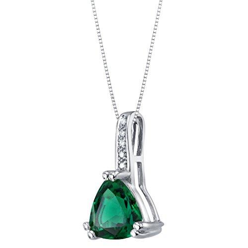 14K White Gold Created Emerald and Diamond Triad Pendant 1.50 Carats Trillion Cut